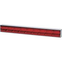Suport cutii de organizare 1200x140 mm cu 18 cutii roșii