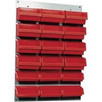 Suport cutii de organizare 400x600 mm, cu 18 cutii roșii