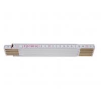Metru lemn 2 m culoare alb, imbinari din otel